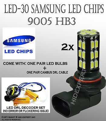ABL 2 pcs deal 9005 30 LED Samsung Chips w/ DRL cable bulbs White Powerful Light