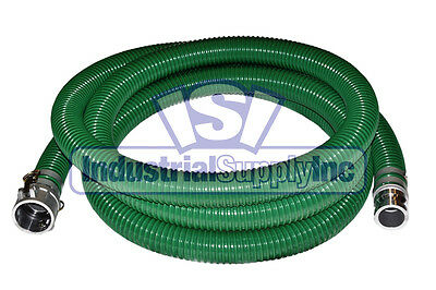 "2"" x 20 ft Heavy Duty Green SuperFlex Trash Pump Water Suction Hose"