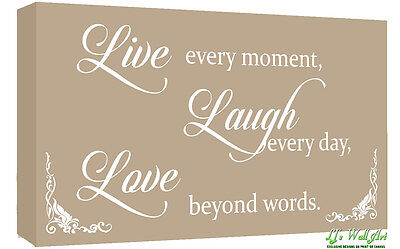 Beige Live Laugh Love Quote Canvas Wall Art  Picture Print - A1, A2 + sizes