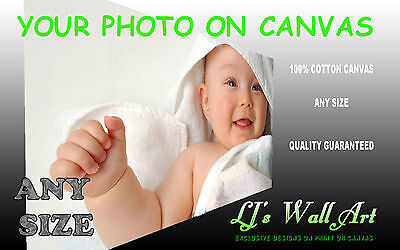 "Photo On Canvas Print Your Personalised Picture Framed Ready to hang 34 "" x 20"""