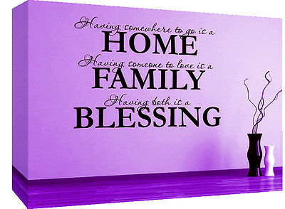 Home, Family, Blessing Quote, Purple Canvas Wall Art Picture -A1, A2, A0 sizes