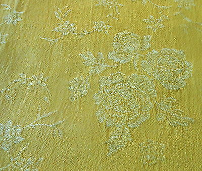 Antique Vintage French Yellow Tonal Roses Floral Cotton Ticking Damask Fabric