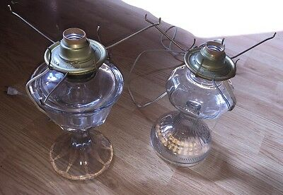 2 Clear Glass Oil Lamp Bases Converted to Electric
