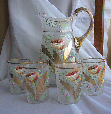 ANTIQUE ENAMELED Poppy Satin Glass WATER PITCHER & 4 TUMBLERS Victorian Gilt