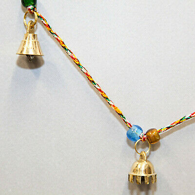 "Beautiful Chime with Ten Polished Brass Bells about 1"" High on a 40"" String"
