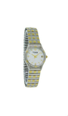 Caravelle by Bulova 45M03 Women's White Date Silver & Gold Tone Stretch Watch