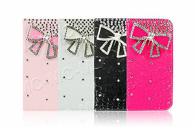 Luxury Leather Bling Crystal Diamond Bow Wallet Case For Apple / Samsung Phones