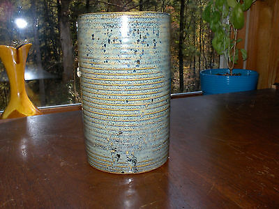 Antique ZANESVILLE POTTERY HOMESPUN Ribbed 'Stoneage' Vase Amazing Piece! #4006