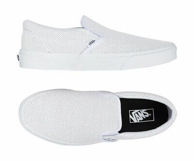 Vans Shoes Classic Slip On White Perforated Leather Cso Free Post Aust Seller