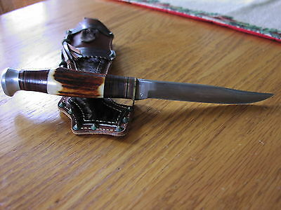 ROMO SOLINGEN GERMANY  STAG  HUNTING KNIFE AND CUSTOM SHEATH,VERY RARE!!!!