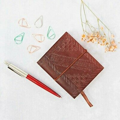 Fair Trade Handmade Small Chocolate Embossed Leather Journal Notebook