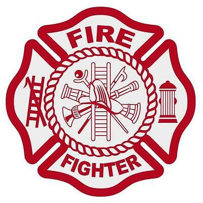 """Fire Fighter Reflective 3"""" Red Maltese Cross Firefighter Decal Sticker"""
