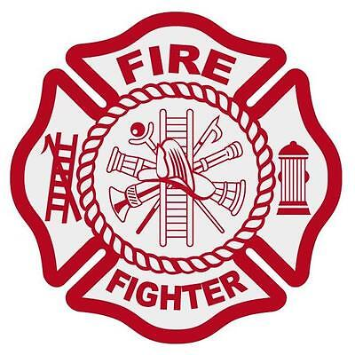 """Fire Fighter Reflective Red Maltese Cross Firefighter Decal Sticker 3"""" approx."""
