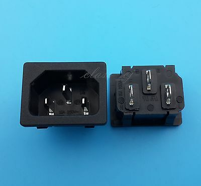 10Pcs AC250V/10A IEC320 C14 Male 3Pin Panel Embedded Power Socket