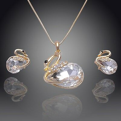 14k Gold Filled Austrian Crystal White Sapphire Swan Necklace Earring Set GP3778