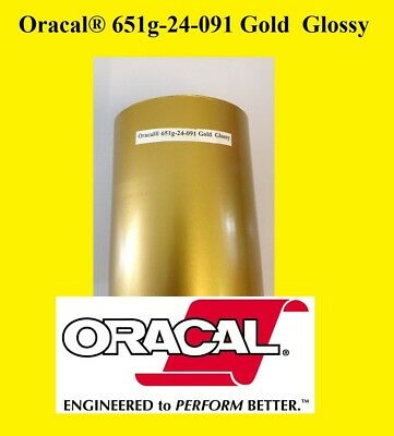 "24"" x 10 FT Roll Gold  Glossy Oracal 651  Vinyl Adhesive Cutter Plotter Sign 091"