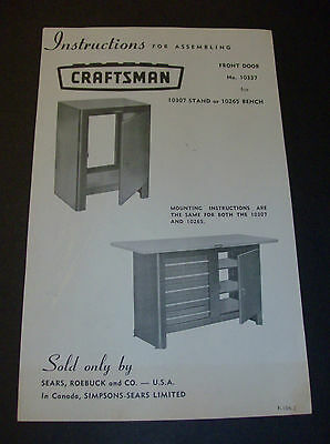 Instructions ONLY Vintage Sears Craftsman Bench 10307 10265 10337 F-104-2