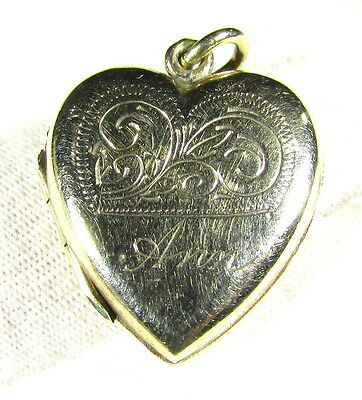 Superb Gold Love Pendant - Heart Shaped - Inscribed Ann - Wearable - Ii38