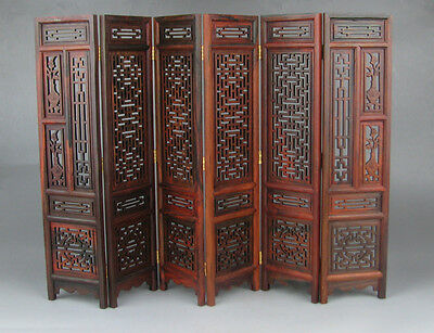 "new China rosewood suanzhi wood carved flower design small folding screen 9.7"" H"