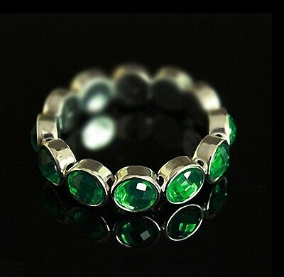 Free Shipping Charming Womens18K White Gold Plated  Bracelet Green Crystal M-R97