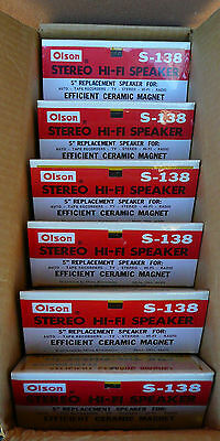 """SIX 6 VINTAGE OLSON 5"""" S138 NOS replacement Ceramic speakers in case all sealed"""