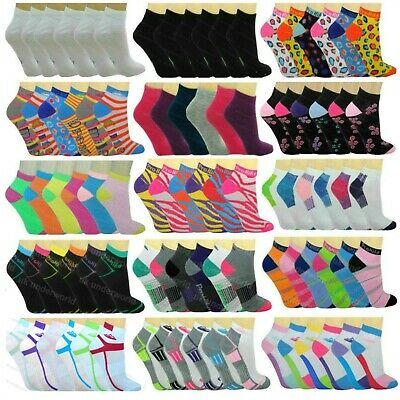 6 Pairs Ladies Womens Trainer Socks Liners Sports Adults Funky Designs 4-7