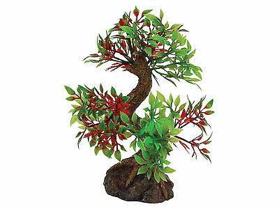 Bonsai Tree on Rock Base Vivarium Aquarium Ornament Fish Tank Decoration