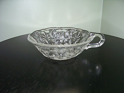 VINTAGE FOSTORIA ETCHED CRYSTAL BAROQUE CHINTZ HANDLED FOOTED NAPPY BOWL (CV205)