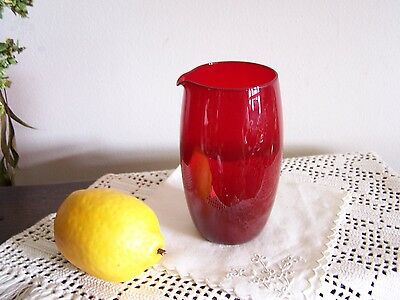 Vintage Anchor Hocking RUBY RED ROLY POLY Glass with Spout / Pitcher MINT