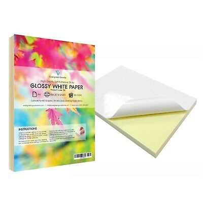 Bulk A4 White GLOSSY Self Adhesive / Sticky Back Label Printing Paper Sheet*