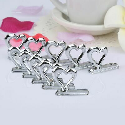 10X Love Heart Shape Name Number Card Place Holder Clip Wedding Table Stand Deco