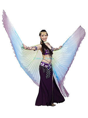 Elegant colorful iridescent Belly Dance Isis wings(Green,Blue,Purple mixed)
