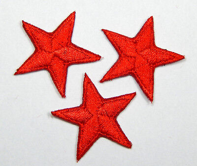 "Red star patches > pack of 3 > embroidered > iron-on > 1"" (25mm) hand finished"