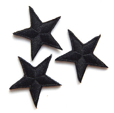* Pack of 3 embroidered Black star patches   iron-on or sew-on *