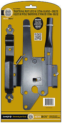 Nuvo Iron DTPLUH TRADITIONAL POST LATCH AND ULTIMA HANDLE DELUXE black galvanize