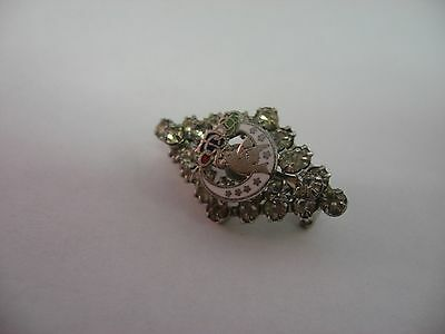 Vintage Daughters of Rebekah Women Oddfellows Dove Moon Star Pin Clear Jewels