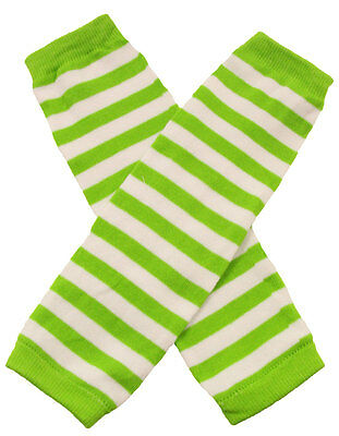 NEW! Lime Green White Striped Cotton Legwarmers 0-6 Years