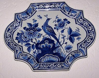 Beautiful lovely plaque, Peacock and flowers Handpainted, Porceleyne Fles,Delft.