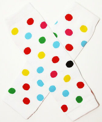 NEW! White with Clown Dots Cotton Legwarmers 0-6 Years