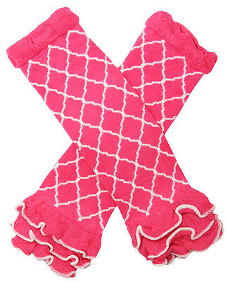 NEW! Hot Pink and White Waverly Pattern Cotton Legwarmers with Ruffles 0-6 Years