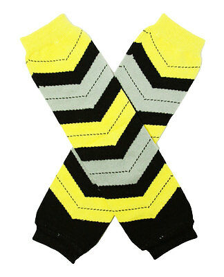 NEW! Black Yellow Gray Chevron Cotton Legwarmers 0-6 Years