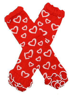 NEW! Valentine's Day Red Bubble Heart Print Legwarmers with Ruffles 0-6 Years