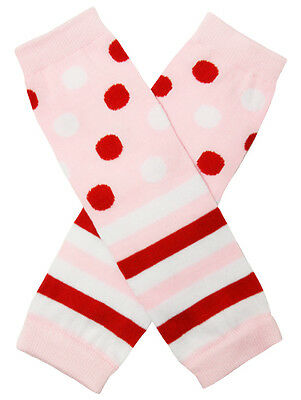 NEW! Pink Red and White Striped Polka Dots Cotton Legwarmers 0-6 Years