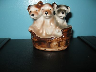 3 Puppies Basket Porcelain Figurine - Made in Occupied Japan
