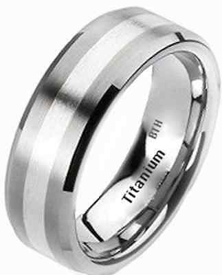 New Mens 925 Sterling Silver and Titanium Wedding Engagement Band Ring