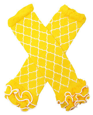 NEW! Yellow and White Waverly Pattern Cotton Legwarmers with Ruffles 0-6 Years