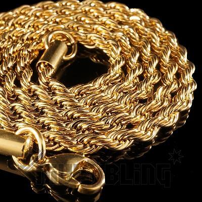 18K IP Yellow GOLD CHAIN Plated Stainless Steel Rope Link Mens & Womens Necklace