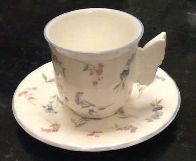 Royal Worcester FORGET ME NOT Blue Demitasse Cup & Saucer w/ Butterfly Handle