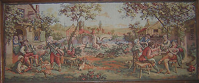 Large Framed Vintage French Tapestry - Featuring A Rustic Scene