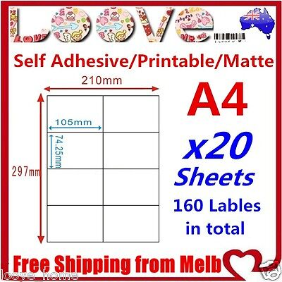 20x A4 Labels Sticker Paper Mailing Address Office Laser Inkjet 4x2 74.25x105mm